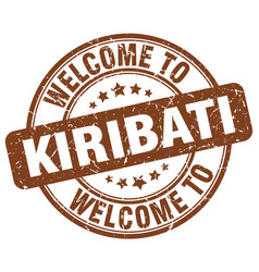 welcome to kiribati brown round vintage stamp vector image vector image