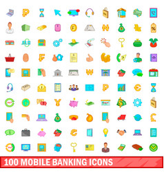 100 mobile banking icons set cartoon style vector
