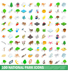 100 national park icons set isometric 3d style vector image