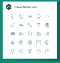 25 cartoon icons vector
