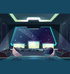 Alien spaceship pilot control panel cartoon vector