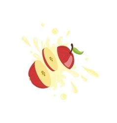 Apple Cut In The Air Splashing The Juice vector
