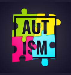 Autism awareness frame poster vector