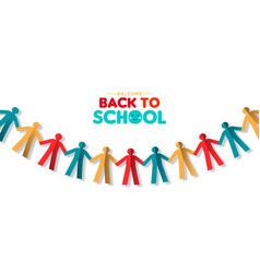 Back to school banner papercut children garland vector