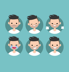Bearded man profile pics set of flat portraits vector