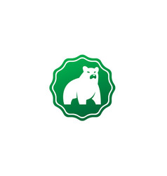 big bear standing and looking at side logo vector image