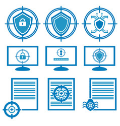 Blue icons for antivirus systems and scanning vector