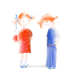 Boy Presenting Flowers to a Girl vector image