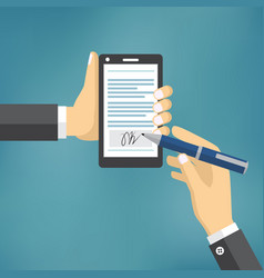 businessman hands signing digital signature vector image