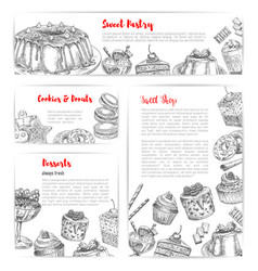 cake and pastry shop sketch banner template set vector image
