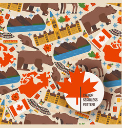Canadian symbols and main landmarks vector