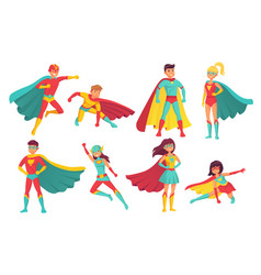 cartoon superhero characters female and male vector image