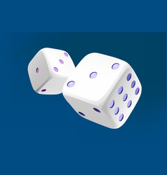 Casino white dice on blue background online vector