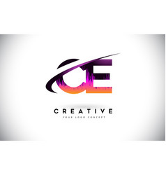 Ce c e grunge letter logo with purple vibrant vector