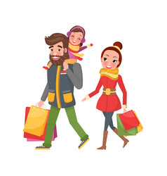 Christmas shopping happy family with packet vector