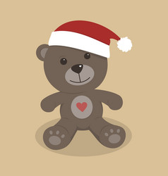 christmas teddy bear on colored background vector image