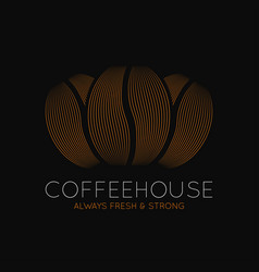 coffee beans logo coffeehouse dark design on vector image