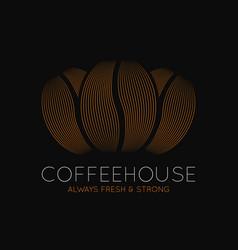 Coffee beans logo coffeehouse dark design vector