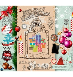 collection christmas elements doodles vector image