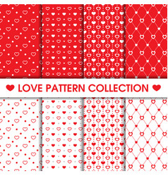collection heart dots seamless pattern vector image