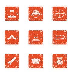 collide icons set grunge style vector image