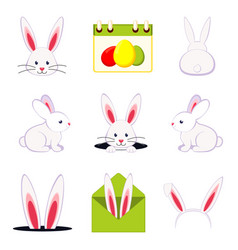 Colorful cartoon easter bunny set vector