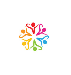 colorful people students team logo vector image
