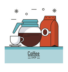 Colorful poster of coffee shop with kettle and cup vector