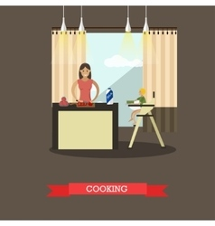 cooking mother with her son vector image