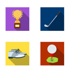 Cup golf club ball on the stand golfer shoes vector