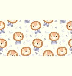 cute cartoon animal seamless pattern vector image