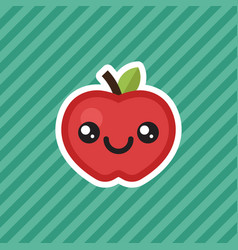 cute kawaii smiling red apple cartoon design icon vector image