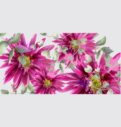 daisy flowers banner watercolor beautiful vector image