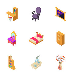 decoration of the house icons set isometric style vector image
