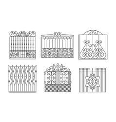 Decorative wrought iron gates set vintage fences vector