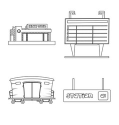 design of train and station symbol vector image