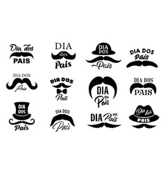 Dia dos pais fathers day holiday icons vector