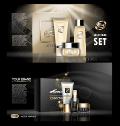 Digital golden and black skin care cream vector