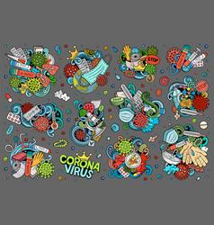 Doodles cartoon set coronavirus objects and vector
