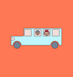 Flat icon thin lines school bus vector
