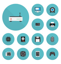 Flat icons controller slot machine web cam and vector