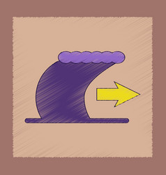 Flat shading style icon tsunami movement vector