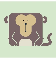 Flat square icon of a cute monkey vector
