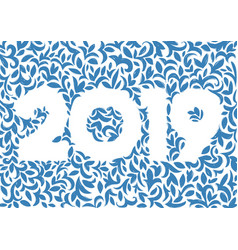Floral decorative postcard for 2019 new vector