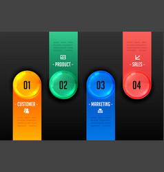 Four steps infographic presentation dark template vector