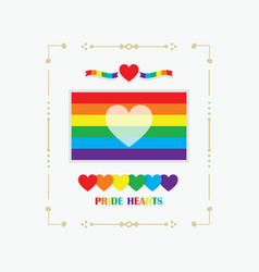 Frame rainbow pride flag with white heart emblem vector