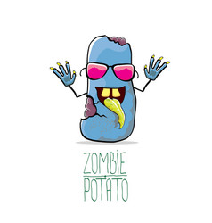 Funny cartoon cute blue zombie potato vector