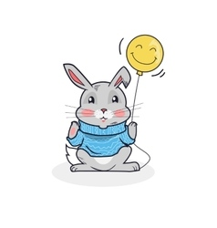 Gray Hare with Balloon Isolated vector image vector image