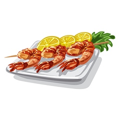 grilled shrimps on skewer vector image