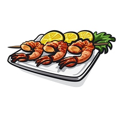 Grilled shrimps vector